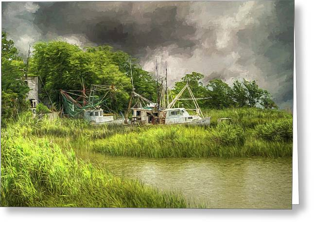 The Me And Matt - Apalachicola Florida Greeting Card by John Adams