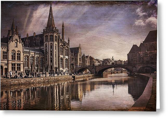 The Medieval Old Town Of Ghent  Greeting Card by Carol Japp