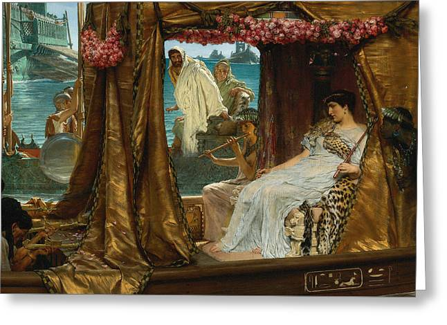 18th Century Greeting Cards - The Meeting of Antony and Cleopatra by Lawrence Alma-Tadema Greeting Card by Sarah Vernon