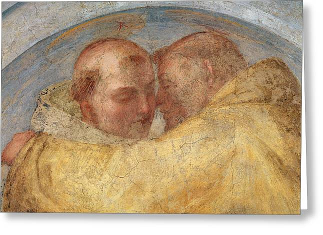 Saint Dominic Greeting Cards - The meeting of St Francis and St Dominic  Greeting Card by Fra Bartolommeo