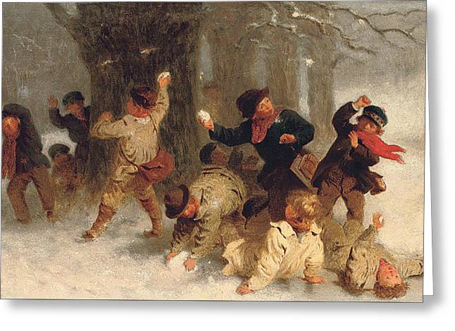 Winter Fun Paintings Greeting Cards - The Melee Greeting Card by John Morgan