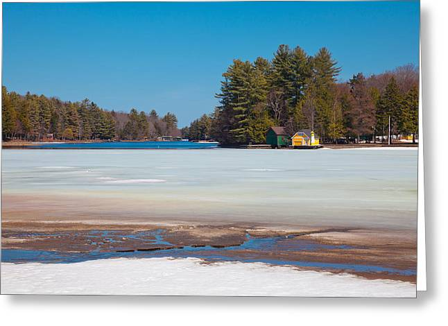 Patterson House Greeting Cards - The Melting of Old Forge Pond Greeting Card by David Patterson