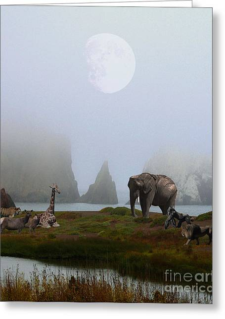 Animals Art Greeting Cards - The Menagerie Greeting Card by Animals Art