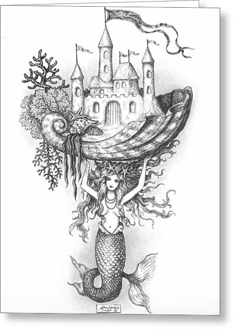 Best Sellers -  - Pen And Ink Drawing Greeting Cards - The Mermaid Fantasy Greeting Card by Adam Zebediah Joseph