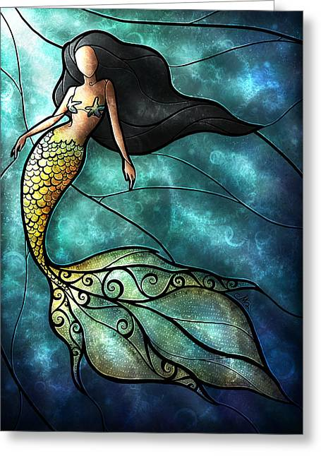 Seashell Digital Greeting Cards - The Mermaid Greeting Card by Mandie Manzano