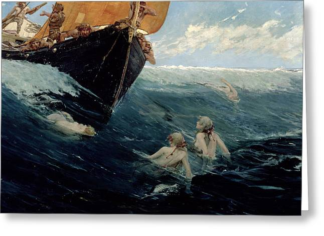 """sailing Ship"" Greeting Cards - The Mermaids Rock Greeting Card by Edward Matthew Hale"