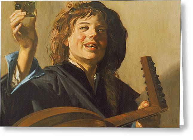 Toast Greeting Cards - The Merry Lute Player Greeting Card by Frans Hals