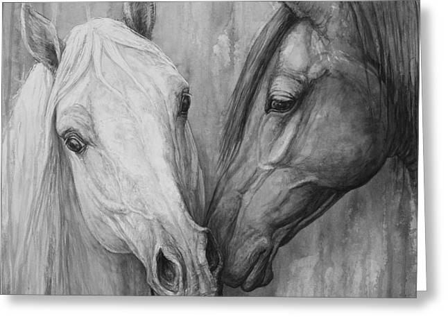 Two Horses Greeting Cards - The Message Greeting Card by Silvana Gabudean