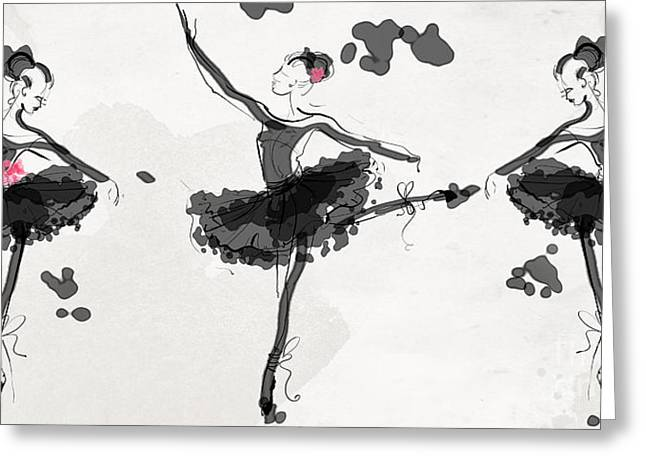 The Met Debut - Dancers In Black Greeting Card by Jodi Pedri