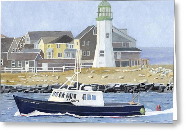 New England Ocean Paintings Greeting Cards - The Michael Brandon Greeting Card by Dominic White