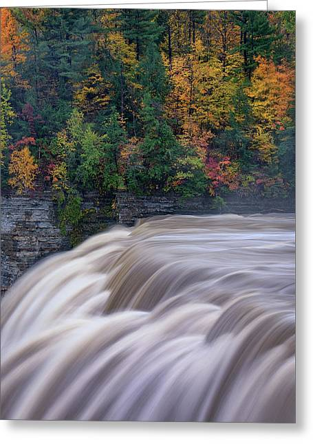 The Middle Falls Greeting Card by Rick Berk