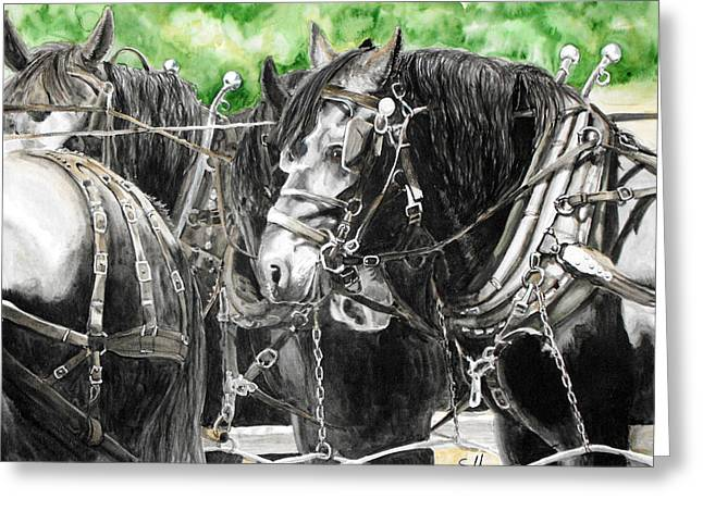 Amish Farms Paintings Greeting Cards - The Middleman Greeting Card by Suzanne Sudekum