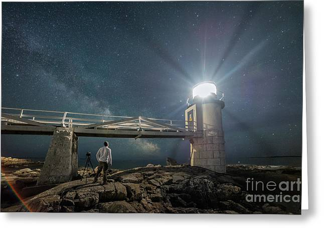 Maine Lighthouses Greeting Cards - The Midnight Explore 2  Greeting Card by Michael Ver Sprill