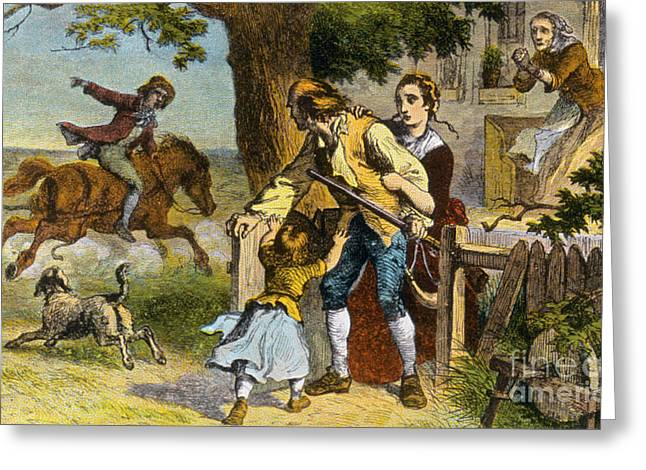 Science Collection - Greeting Cards - The Midnight Ride Of Paul Revere 1775 Greeting Card by Photo Researchers