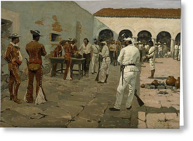 The Mier Expedition The Drawing Of The Black Bean  Greeting Card by Frederic Remington