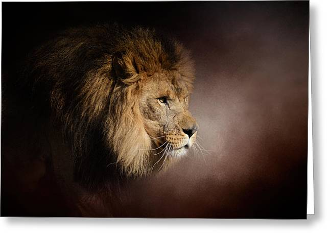 Wildcats Greeting Cards - The Mighty Lion Greeting Card by Jai Johnson