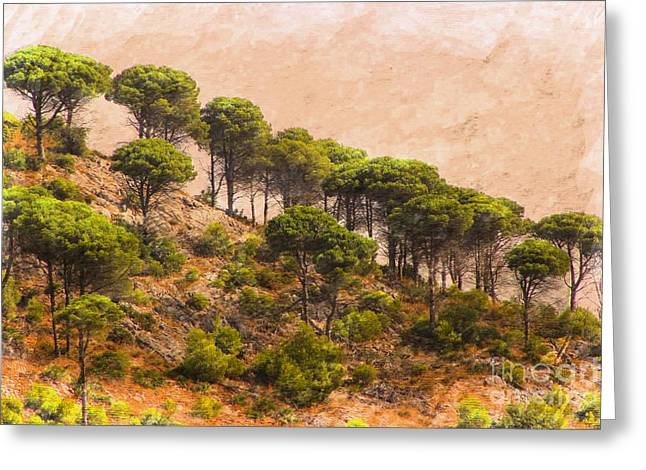 Andalucia Mixed Media Greeting Cards - The Mijas Hills Greeting Card by Clare Bevan