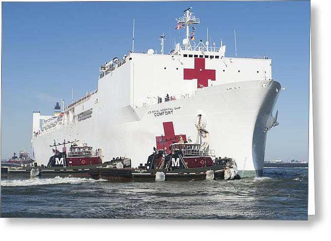 Weapon Mixed Media Greeting Cards - The Military Sealift Command hospital ship USNS Comfort Greeting Card by Celestial Images