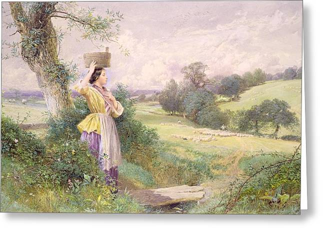 Loaded Greeting Cards - The Milkmaid Greeting Card by Myles Birket Foster