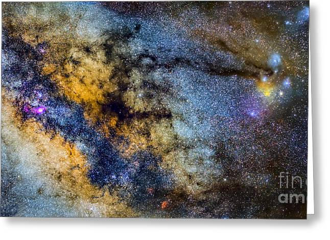 The Milky Way And Constellations Scorpius Sagittarius And The Super Big Red Star Antares Greeting Card by Guido Montanes Castillo
