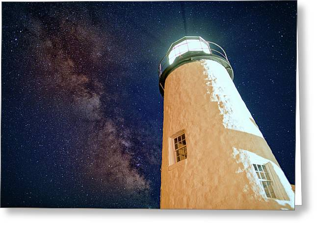 The Milky Way Over Pemaquid Point Greeting Card by Rick Berk