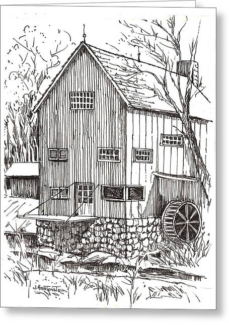 Ink Drawing Greeting Cards - The Mill at Ashantee NY Greeting Card by Joan Hartenstein