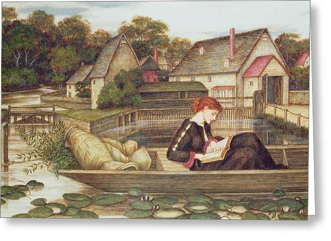 Woman With Black Hair Greeting Cards - The Mill Greeting Card by John Roddam Spencer Stanhope