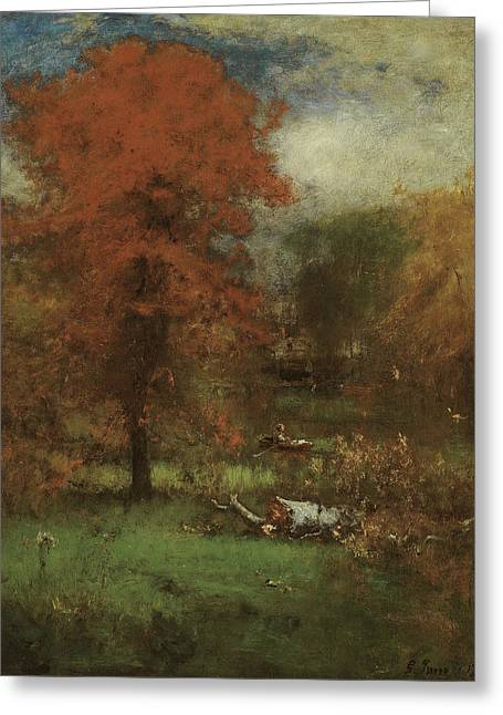 The Mill Pond Greeting Card by George Inness