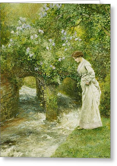 Recently Sold -  - Flower Blossom Greeting Cards - The Mill Stream in Spring Greeting Card by Arthur Hopkins