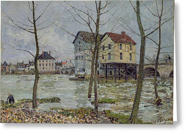 Water Mill Greeting Cards - The Mills at Moret sur Loing Greeting Card by Alfred Sisley