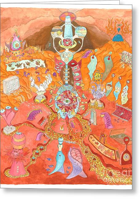 Archetype Paintings Greeting Cards - The Minds Cave Greeting Card by Rodrigo de Toledo