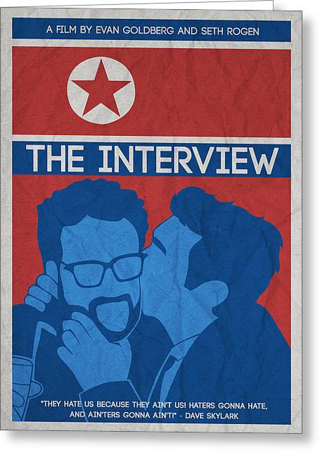 Interviewed Greeting Cards - The Minimalist Movie Poster- The Interview Greeting Card by Celestial Images