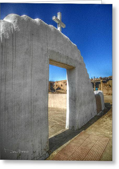 Taos Digital Greeting Cards - The Mission Courtyard at Taos Pueblo Greeting Card by Don Berg