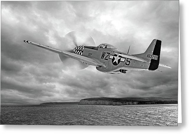 The Mission - P51 Over Dover In Black And White Greeting Card by Gill Billington