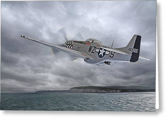 The Mission - P51 Over Dover Greeting Card by Gill Billington