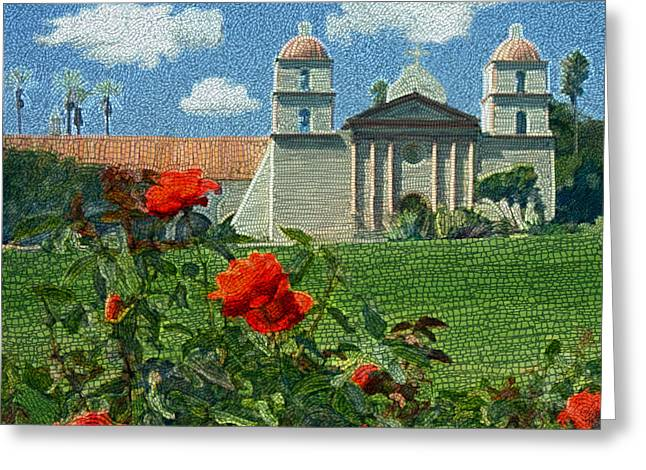 Church Greeting Cards - The Mission Santa Barbara Greeting Card by Kurt Van Wagner
