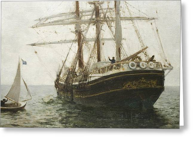 The Missionary Boat Greeting Card by Henry Scott Tuke