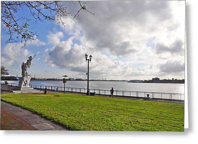River Walk Greeting Cards - The Mississippi River Walk - New Orleans Greeting Card by Bill Cannon