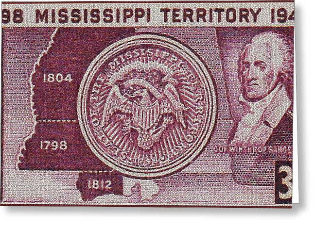 The Mississippi Territory Stamp Greeting Card by Lanjee Chee