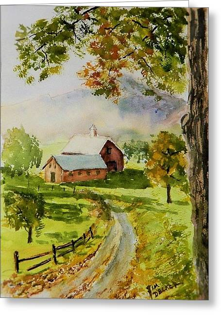 Maine Farms Paintings Greeting Cards - The Mist Is Clearing Greeting Card by Jim Decker