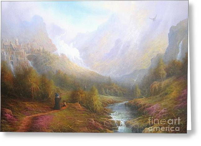Elf Greeting Cards - The Misty Mountains Greeting Card by Joe  Gilronan