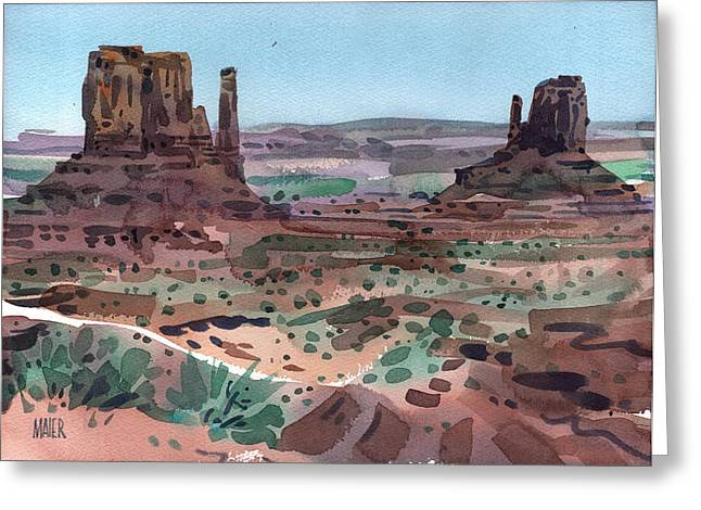 Navajo Tribal Park Greeting Cards - The Mittens Greeting Card by Donald Maier