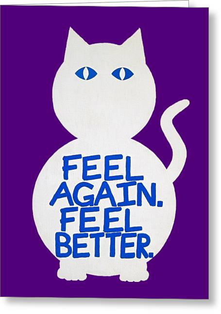 Moggy Greeting Cards - The Mogadon Mog Remix Greeting Card by Oliver Johnston