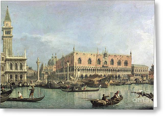 Campanile Greeting Cards - The Molo and the Piazzetta San Marco Greeting Card by Canaletto