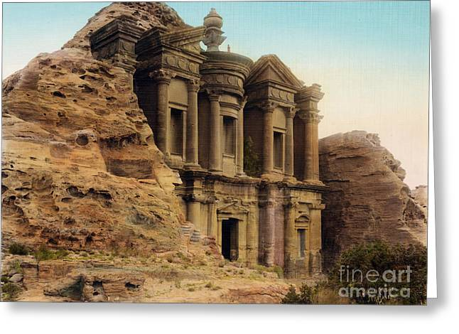 Petra Greeting Cards - The Monastery Petra Greeting Card by Celestial Images
