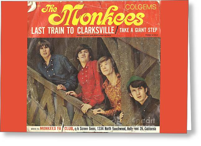 Monkey Greeting Cards - The Monkees Last Train to Clarksville 45 Sleeve Greeting Card by Edward Fielding