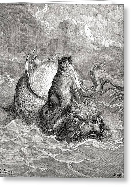 Fabled Greeting Cards - The Monkey And The Dolphin After A Work Greeting Card by Ken Welsh