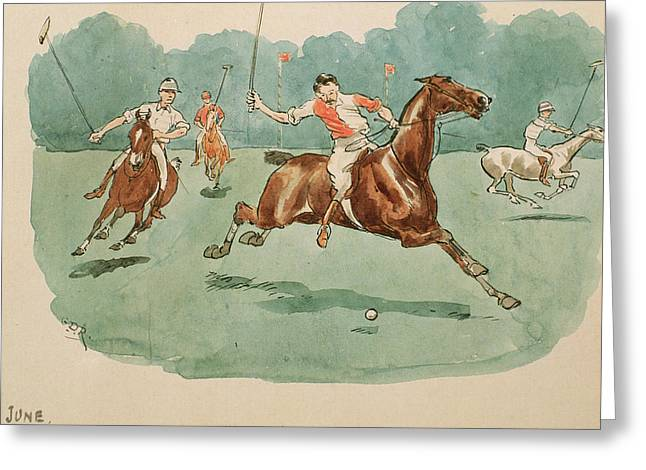 Player Drawings Greeting Cards - The Month of June  Polo Greeting Card by George Derville Rowlandson