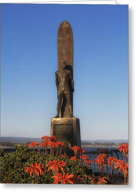 Santa Cruz Art Greeting Cards - The Monument - To Honor Surfing - Santa Cruz California Greeting Card by Mountain Dreams