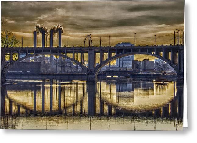 Concrete Bridge Greeting Cards - The Mood Through the Third Avenue Bridge Greeting Card by Bill Tiepelman